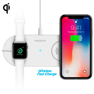 POWER PAD DUO QI WIRELESS FAST CHARGER FOR APPLE WATCH/IPHONE - WHITE